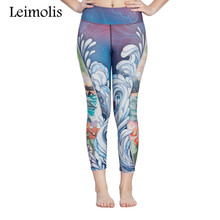3D Sea Wave Design Beach Leggings