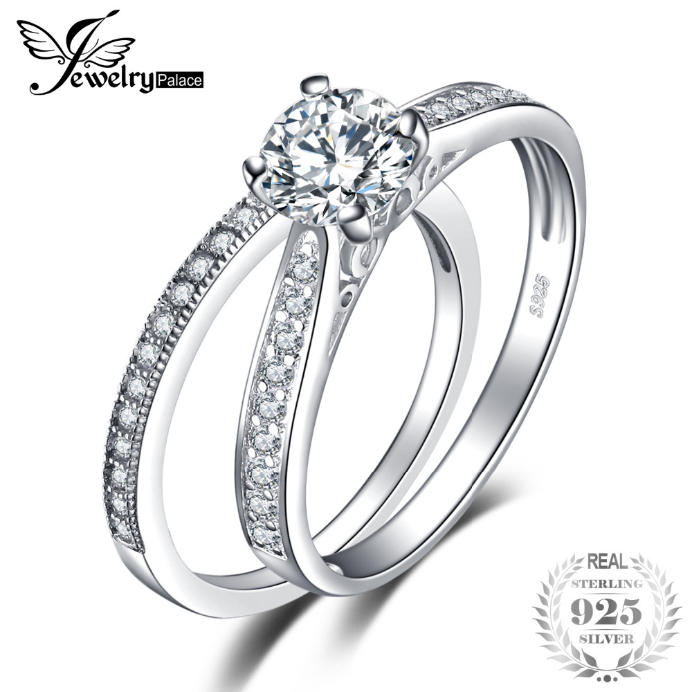 JewelryPalace Romantic Engagement Wedding Ring  Pure 925 Sterling Silver Bridal Jewelry Cubic Zirconia Promise Anniversary Gift