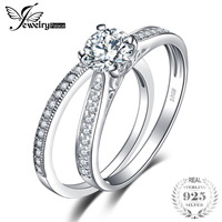 100 Pure 925 Silver Wedding Engagement Ring Sets New Bridal Fshion Jewelry Lover Ring Sets For
