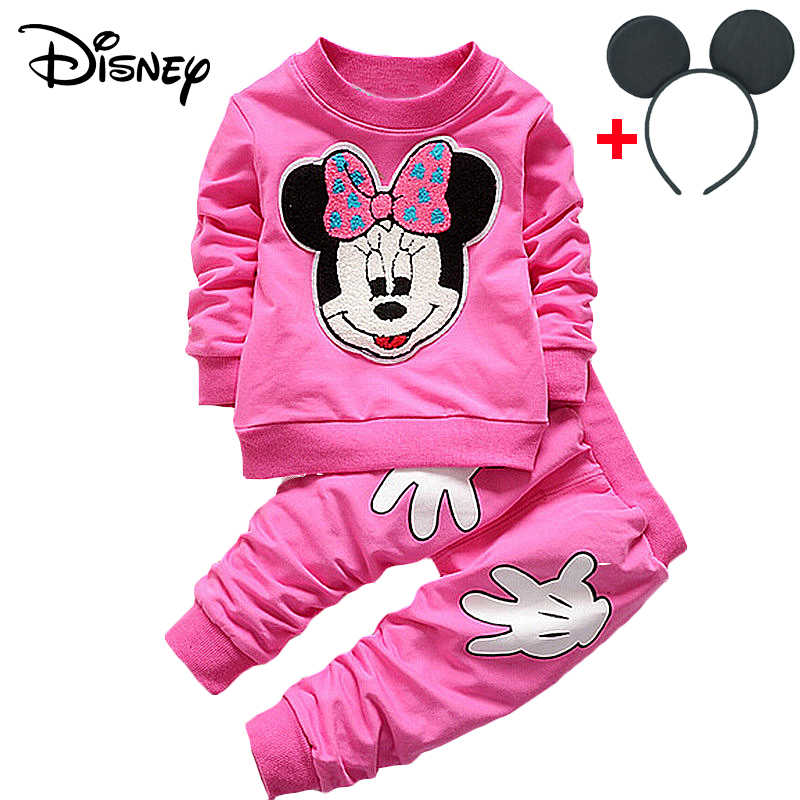 37ca18dfc Disney Mickey Girls Baby Clothe Spring Autumn Cartoon Rabbit Hoodies Pant Christmas  Outfit Kid Bebes Jogging