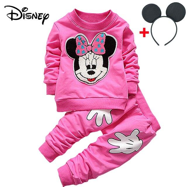 Disney Mickey niñas bebé Clothe primavera otoño dibujos animados conejo sudaderas pantalón traje de Navidad chico Bebes Jogging trajes chándales