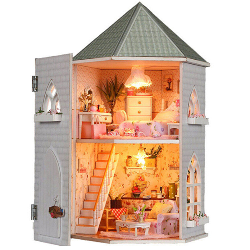 DIY Kit Toys Dollhouse for Children Wooden Miniature Doll House Furnitures Assembling Scale Model Puzzle English