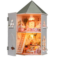 DIY Kit Toys Dollhouse for Children,Wooden Miniature Doll House Furnitures Assembling Scale Model Puzzle English instructions