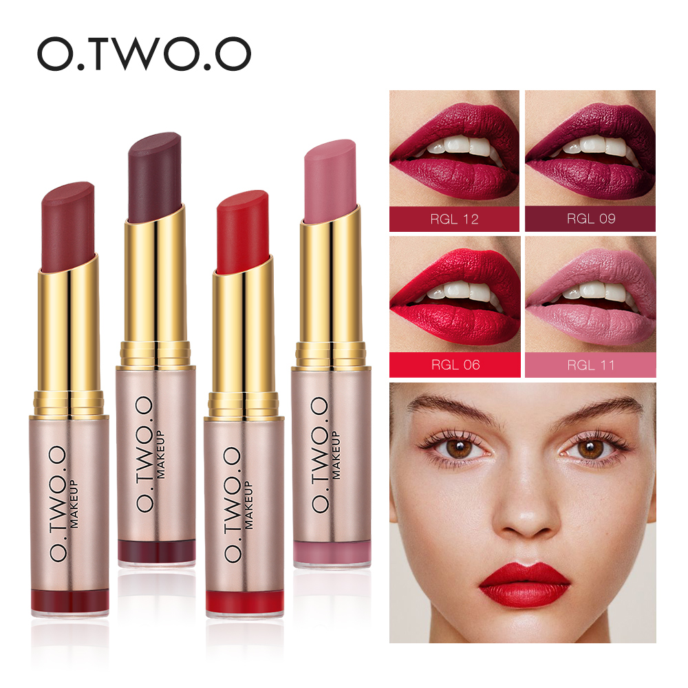 Careful O.two.o Lipstick Matte Lipsticker Long-lasting Easy To Wear Waterproof Baby Lip Balm Nude Cosmetic Gold Makeup Lips 12 Colors Beauty & Health
