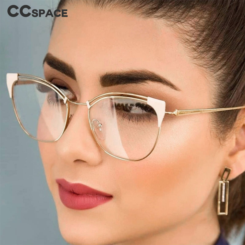 Cat Ear Simple Metal Glasses Frames Men Women Optical Fashion Computer Glasses 45892