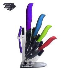 Xyj marca cuchillos de cerámica cuchillo de cocina de cerámica peeler + 4 unids soporte 100% marca mejores accesorios de cocina cuchillo de acrílico titular