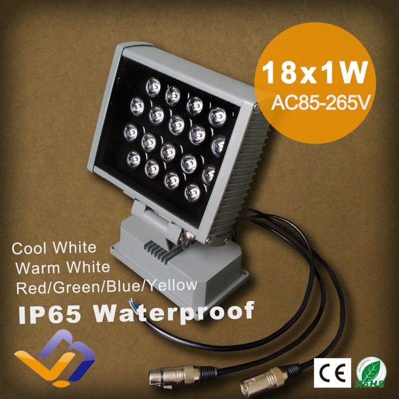 ФОТО 18W LED Flood Light 18*1W High Power outdoor single color LED Spotlight Landscape lighting Lamp IP65 AC 85-265V