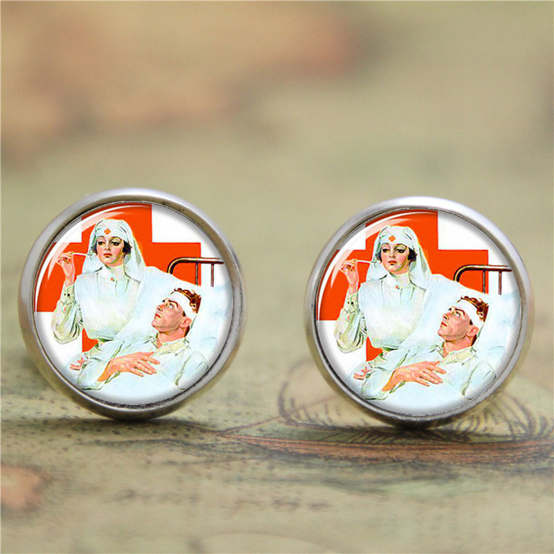 10pairs/lot Nurse earring Nurse whose job is to care for people earring print glass photo Gift for Nurse earring ...
