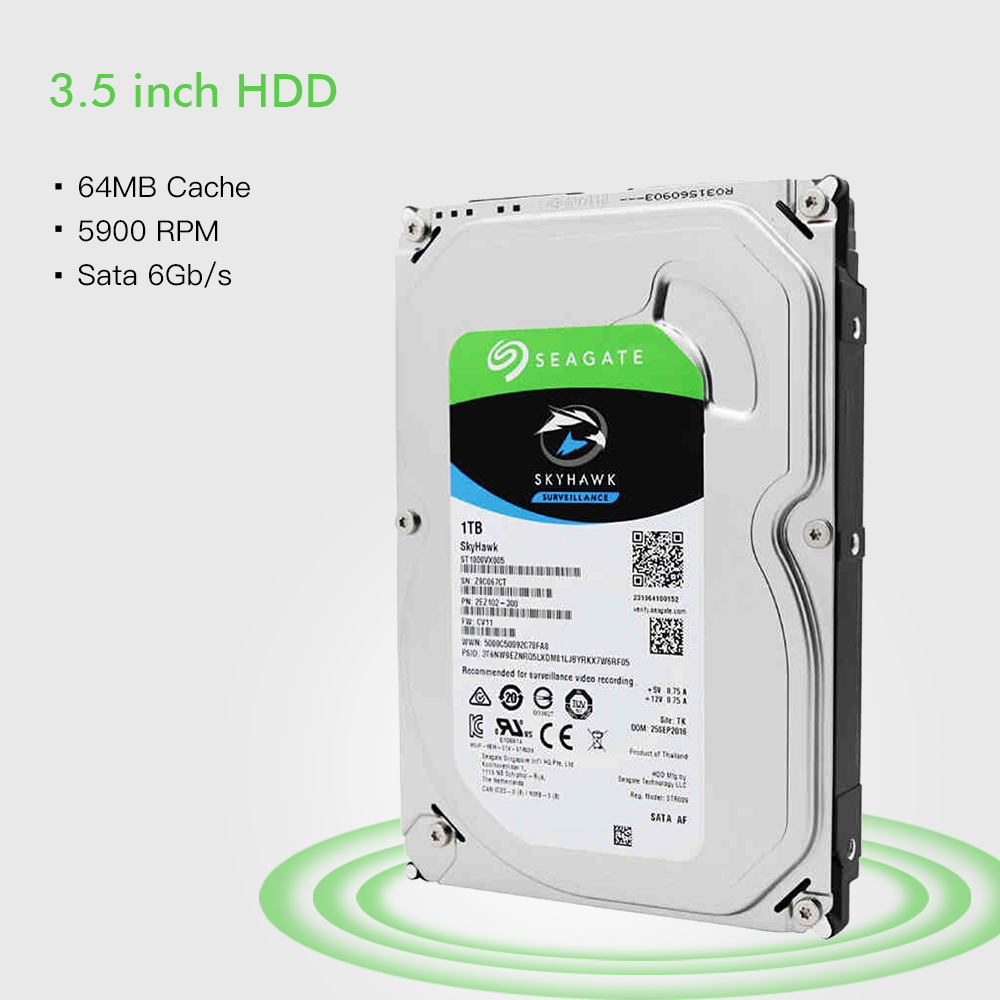 Seagate Internal <font><b>HDD</b></font> 1TB Video Surveillance Hard Disk Drive 5900 RPM <font><b>SATA</b></font> 6Gb/s <font><b>3.5</b></font> inch 64MB Cache ST1000VX005 image