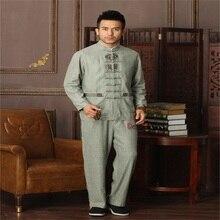 Лучшие продажи светло-зеленый китайский Для мужчин кунг-фу форма из хлопка и льна тай-чи костюм Винтаж Кнопка Костюмы M, L, XL XXL, XXXL