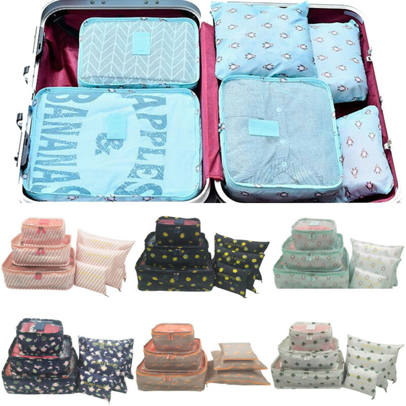 New US 6Pcs Printed Travel Storage Bag Waterproof Clothes Packing Cube Luggage Organizer Set