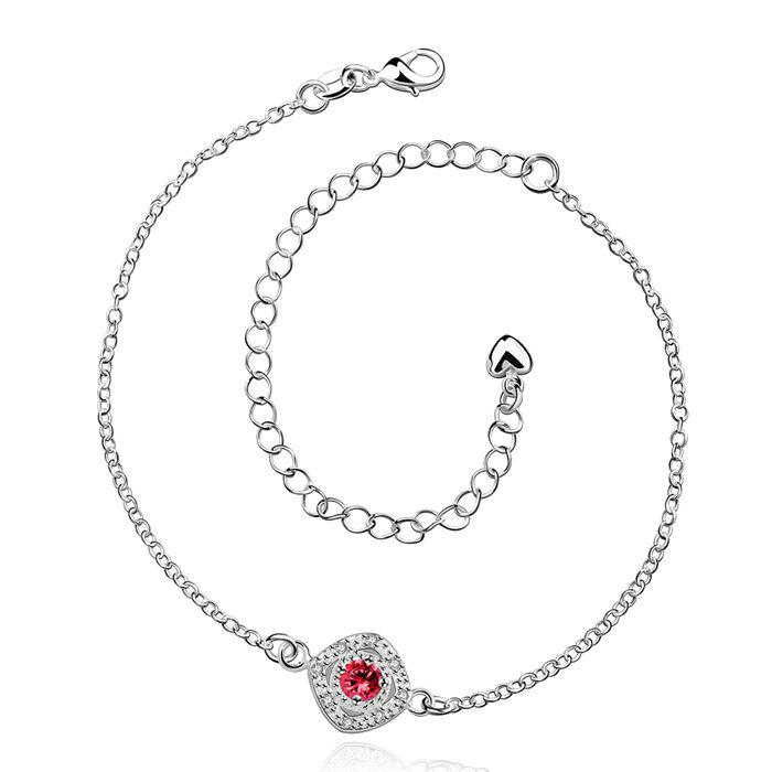 HOT! silver plated Anklets,925 fashion Silver jewelry charm Anklets red rhinestone foot chain Anklets for women SA037-A