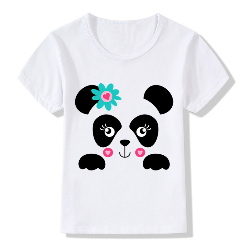Children Cute Panda Face Print Funny T Shirt Kids Summer Tops Girls Boys Short Sleeve T-shirt Animal Baby Clothes,hkp2084 Strong Packing