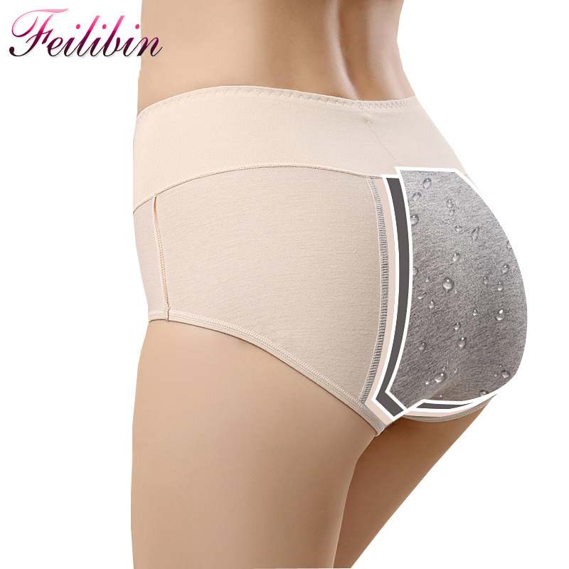 Feilibin 3PCS/LOT Panties Women Physiological Briefs High Waist Leakproof Menstrual Period Sexy Underwear Healthy Cotton Pants ...
