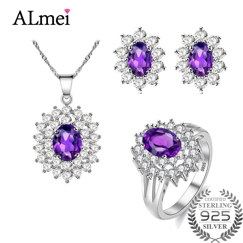 Almei Diana William fiançailles mariage améthyste bijoux ensemble argent 925 anneau pendentif boucle d'oreille 45 cm chaîne avec une boîte 10% CT001