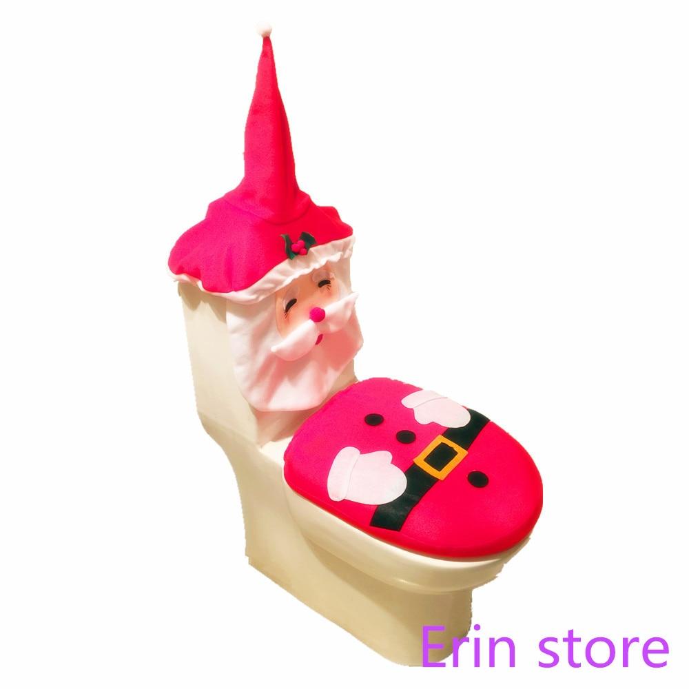 Christmas Ornament Snowman Santa Toilet Seat Cover Rug Bathroom Set Contour Kerst Adornos De Navidad Para Casa In Covers From