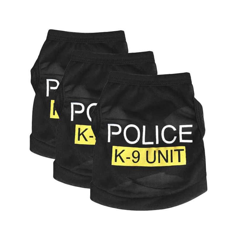 Prodotto dell'animale domestico Nuovo Carino Pet Dog Puppy Abbigliamento Polizia Stampato Costumi Maglia Cappotto di Estate Stampata Lettera Tuta Sportiva Abbigliamento
