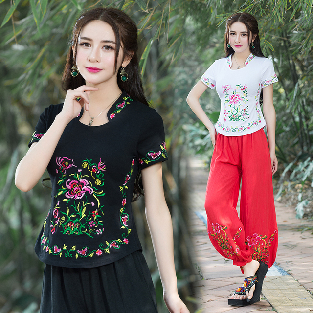 Ethnic shirt 2018 women summer Mexico style hippie original stand collar  green black white red embroidery