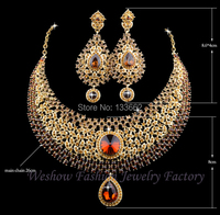 Hot Sale Champagne Rhinestone India Style Bridal Wedding Crystal Jewelry Sets Dinner Statement Necklace Earrings Free