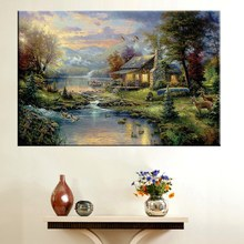 Custom Thomas Kinkade Animals Pastoral Painting High Quality Quiet Cottage by River Prints Canvas Wholesale Price