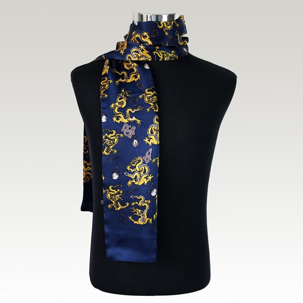 Foulard en Satin de soie Double couche pour homme, imprimé Dragon de bon augure, nouveau foulard en soie Pure Vintage, foulards à carreaux pour hommes NWJ8