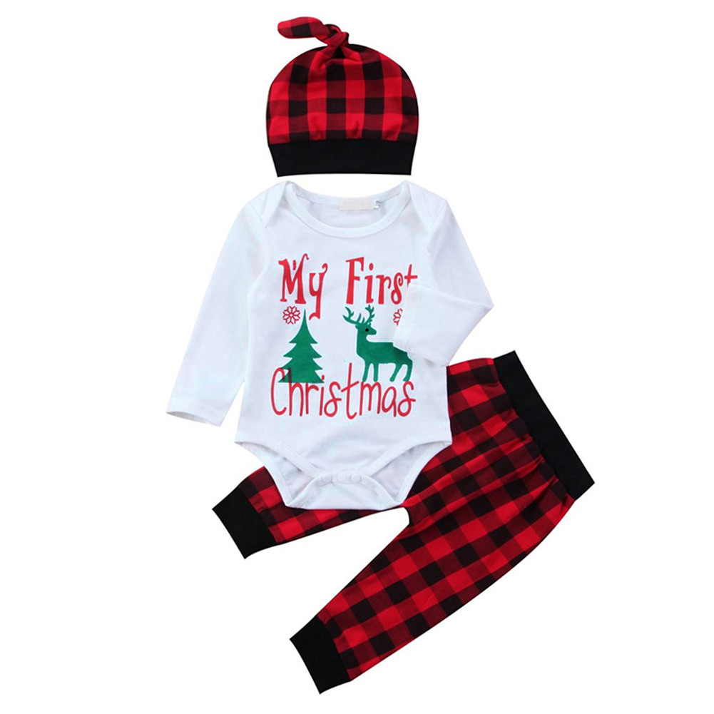 GRNSHTS 3pcs/set Cute Newborn Clothing Set Baby Boy Girls First Christmas Clothes Infant Romper Pants Hat Outfit high quality new winter jacket parka women winter coat women warm outwear thick cotton padded short jackets coat plus size 5l41