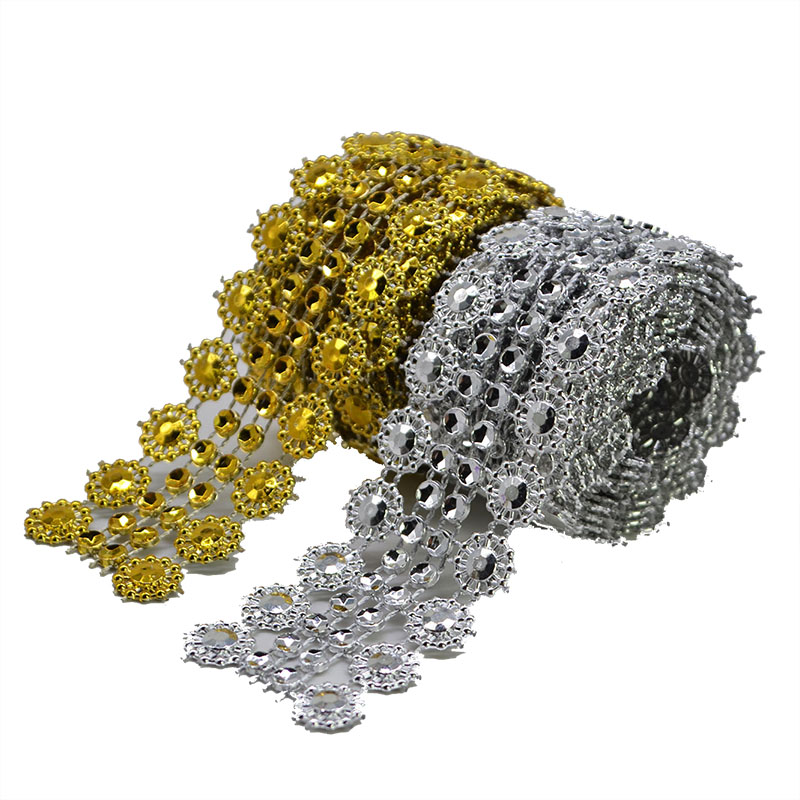 1Yard 28MM Vintage Gold Silver Diamond Mesh Wrap Roll Sparkle Rhinestone Crystal Ribbon For Wedding Decoration Bling Wrapper 8