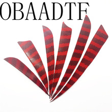100pcs 3 4 5 High Quality Water Drop Shield Cut Striped Red Archery Hunting Shooting Arrow Feather Vanes Bow