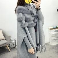 Taotrees Autumn Winter Turtleneck Pullovers Loose Cape Shawl Knit Jacket Bat Sleeve Tassel Sweater with fur Women's Clothing