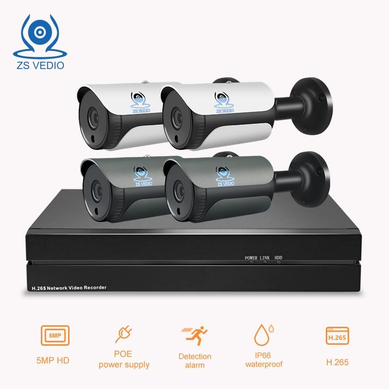 ZSVEDIO 4ch 5 0MP POE Kit H 265 CCTV Security 8CH NVR IP Camera Outdoot Waterproof