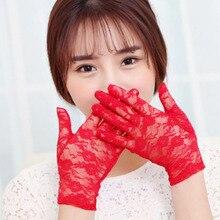 Sale Summer Elegant Romantic Ladies Lace Gloves White Red Wrist Length Short Women Accessories