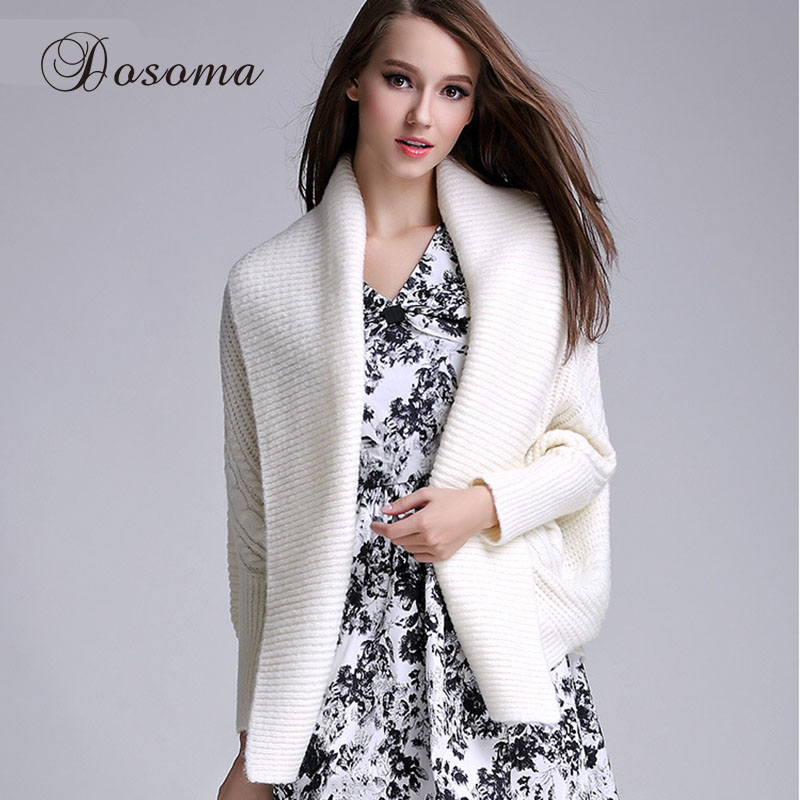 Autumn Poncho Cardigan Women Pink Long Sleeve Wrap Sweater White Swing Loose Sweaters Female Winter Outwear 2017