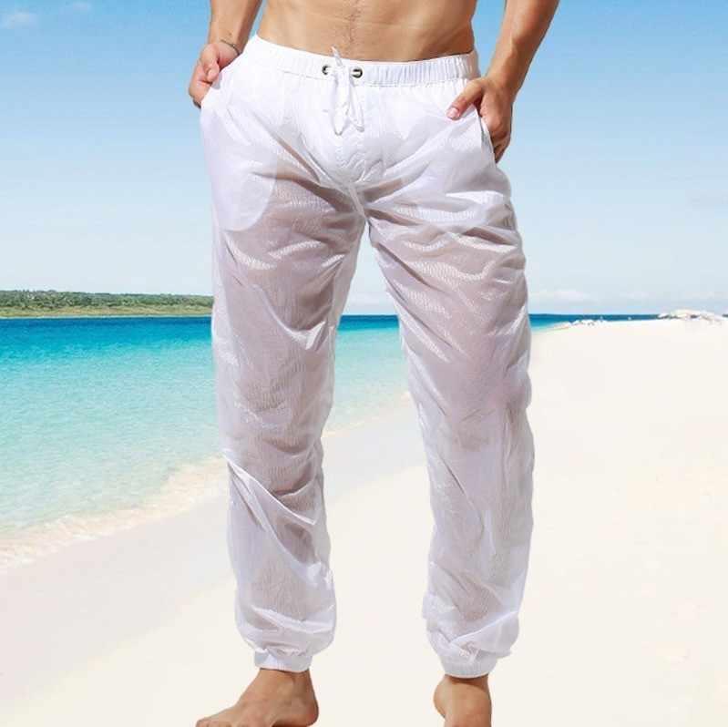 Pantalones de playa ultrafinos para hombre, pantalones de protección UV para Surf, pantalones de vela semitransparentes, pantalones deportivos de secado rápido