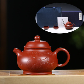 are recommended for yixing pure dahongpao carved by hand draw pan pot of purple sand teapot tea custom gifts sets