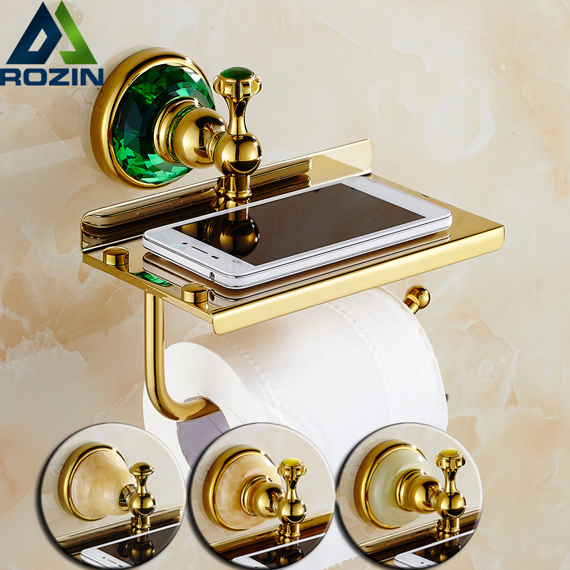 где купить Wholesale And Retail Golden Jade Toilet Roll Paper Rack with Phone Shelf Wall Mounted Bathroom Paper Holder Free Shipping по лучшей цене
