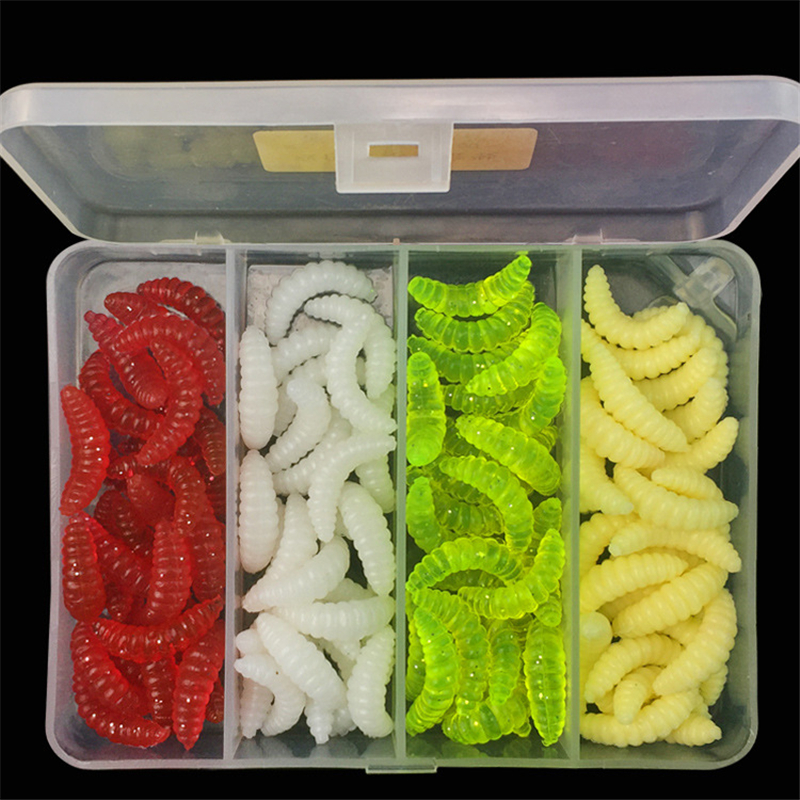 100 pcs caixa 2 4 cm souple leurre vermes isca macia de alta qualidade 4 cores