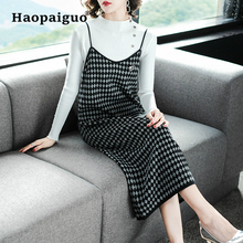 Plaid 2 Piece Set Women Winter 2018 Suit Knitting OL White Blouse and Tank Loose Midi Dresses Elegant Two
