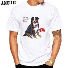 Camiseta de verão do cão da montanha da montanha de bernese da suíça camiseta masculina engraçado homem topos menino casual t branco manga curta