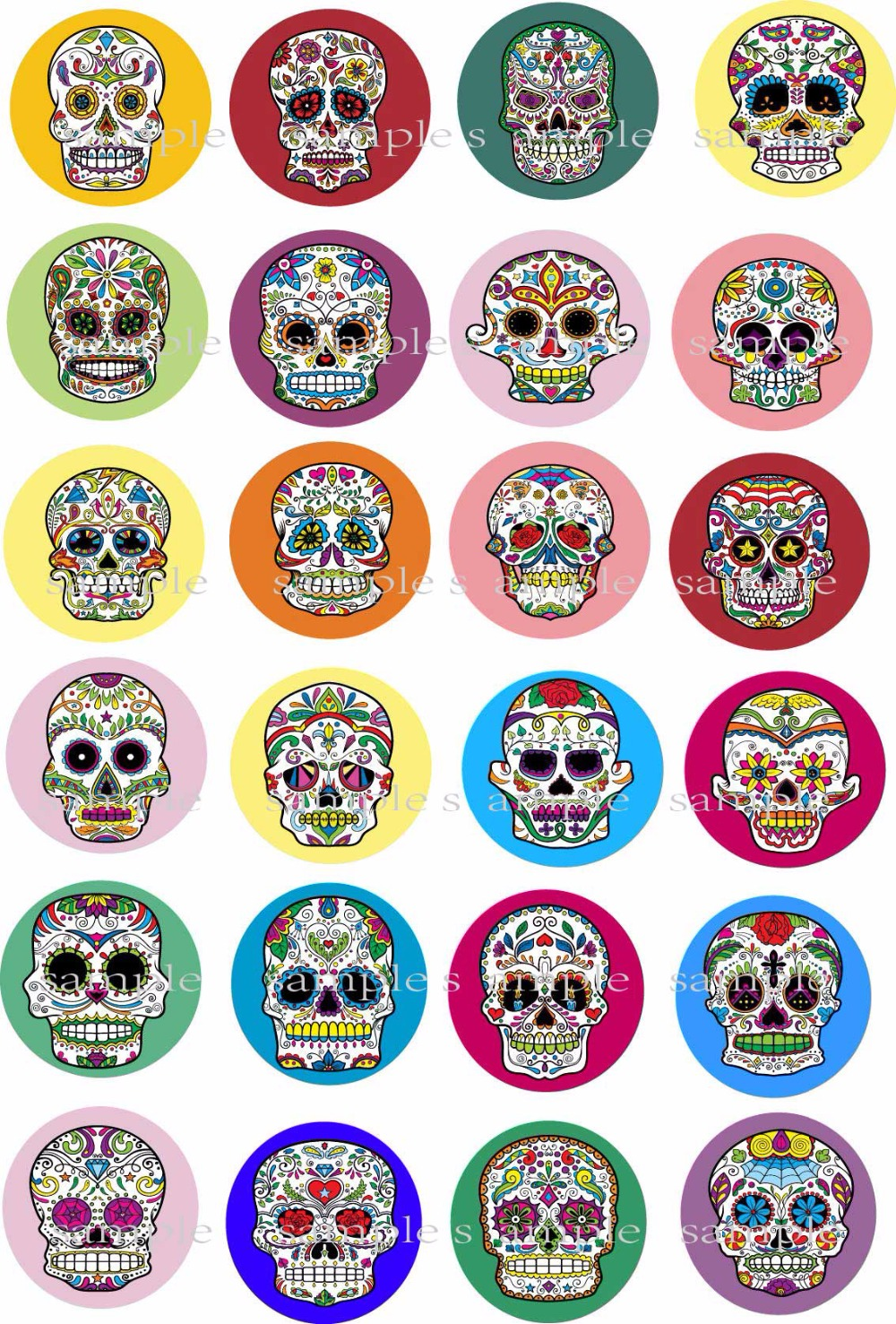 Edible Cake Decorations Skull : Aliexpress.com : Buy 24 Mexican Sugar skull Edible cake ...