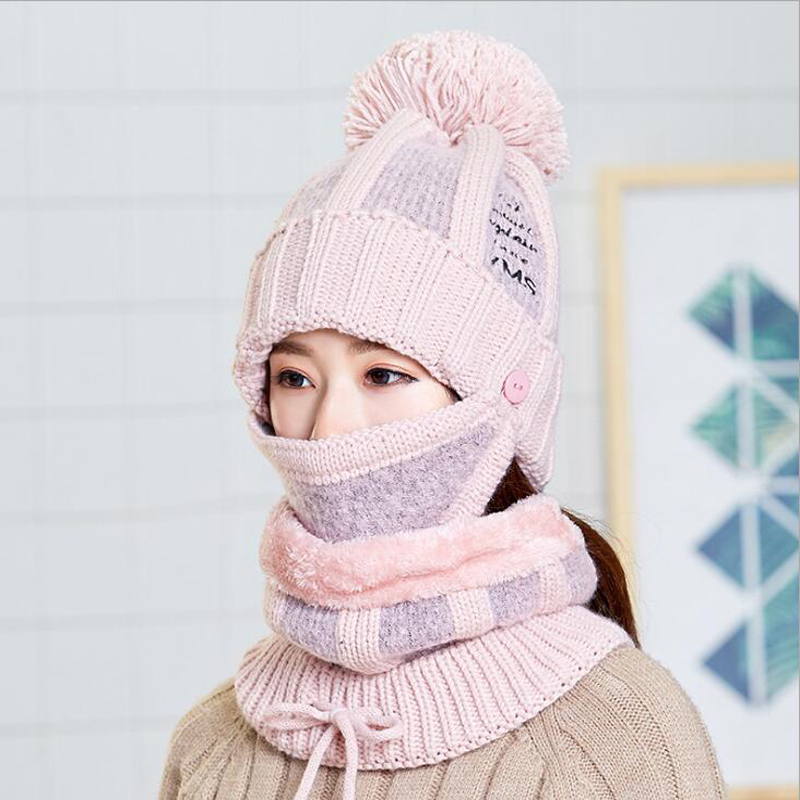 Winter   Skullies     Beanies   Hat Scarf Mask Set Women Knitted Hat Caps Girls Gorras Bonnet Warm Skiing Cap For Ladies   Beanies   Hats