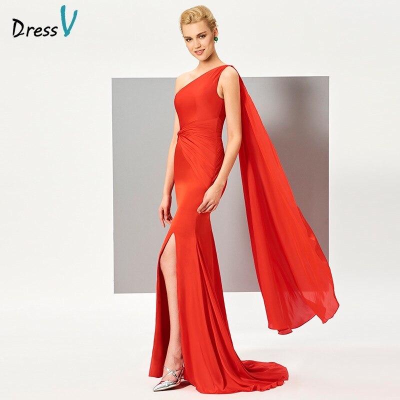 Dressv One Shoulder Mermaid Evening Dress Red Split Front Ruched Formal Evening Party Dress Ruched