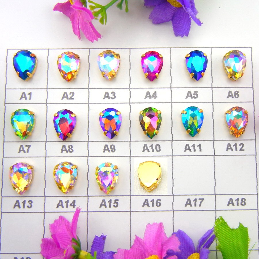 AB colors 7 Sizes Gold claw settings waterdrop teardrop glass Crystal Sew on rhinestone beads garment applique diy trim
