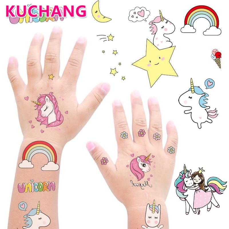 Pegatina de tatuaje de unicornio para niños, 1 hoja de 12x7,5 cm, etiqueta adhesiva de bricolaje para chica de dibujos animados, Cuenta de mano, artículos de papelería para decoración, juguete adhesivo para uñas