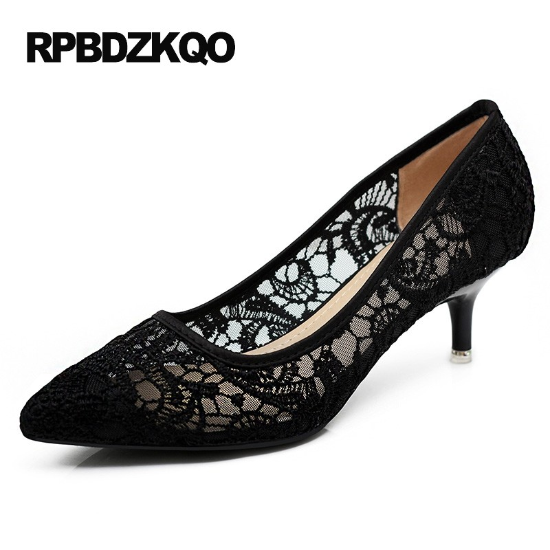c69f80a57b Cheap Discount Mesh Black Size 4 34 Pointed Toe 2017 Ladies Kitten Heels  Shoes High Thin