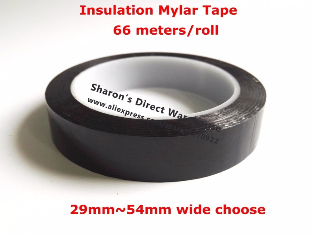 66M/roll 29mm~54mm Width PET High-temp Withstand Insulate Anti-Flame Adhesive Mylar Tape for Transformer Coil Wrap black 2x 13mm width adhesive insulation mylar tape for transformer motor capacitor coil wrap anti flame black