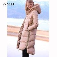 Amii Для женщин 2018 зимние теплые толстые 90% Белое пуховое пальто толстовки Женская мода легкая куртка пальто