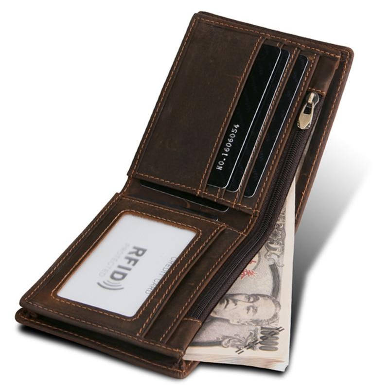 100% Genuine Leather Men Wallet Zipper Small Money Purses Short Bifold Men Wallets Slim Purse Money Clip Wallet Cartera Hombre