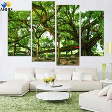 4 Panel Modern Painting Home Decorative Art Picture Paint on Canvas Prints A wild profusion of vegetation lush foliage a tree