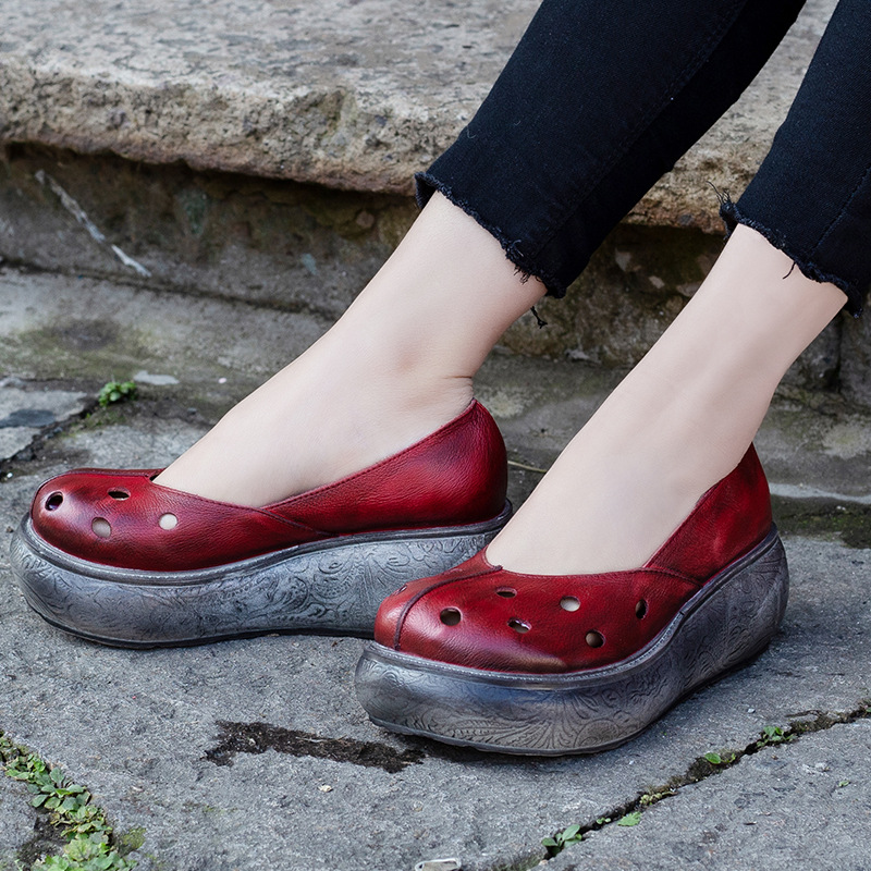 Women Pumps Genuine Leather 6 CM High Heels Lazy Shoes Spring 2019 Hollow Out Style Wedge Heels Pump Leather Women Handmade ShoeWomen Pumps Genuine Leather 6 CM High Heels Lazy Shoes Spring 2019 Hollow Out Style Wedge Heels Pump Leather Women Handmade Shoe