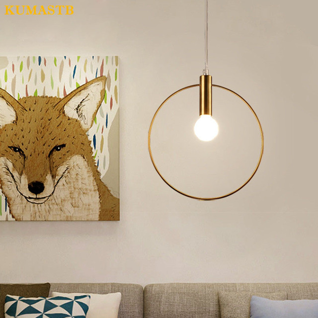 Modern Gold Ring Lamp Metal Cord Pendant Light Dinning Room Bedroom Lustre para sala Bar Art Lampba Ring Pendant Light Fixture